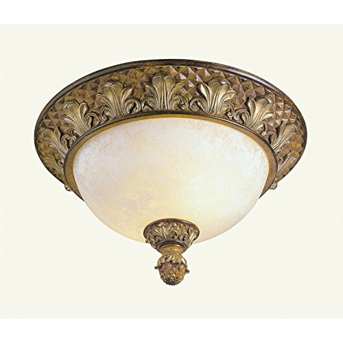(Livex Lighting 8457-57 Savannah 2 Light Venetian Patina Flush Mount with Vintage carved Scavo Glass)