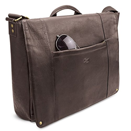 Solo Hudson 16 Inch Leather Laptop Messenger, Espresso