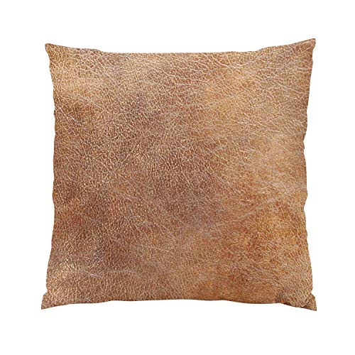 Eel Camel (Suike Leather Camel Brown Cowhide Fancy Hidden Zipper Home Sofa Decorative Throw Pillow Cover Cushion Case Square 16x16 Inch Two Sides Design Printed Pillowcase)