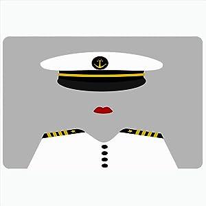 FUEWU Bath Mat 16x24 Inches Navy Hat Funny Success Female Sailor Ocean Captain Yellow Uniform Admiral Girl Woman Anchor Black Decorative Plush Bathroom Rugs Mats Decor Doormat Non Slip Backing