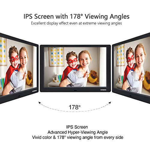 YENOCK Digital Picture Frame, 10.1 Inch IPS Screen Digital Photo Frame 1280×800 Pixels High Resolution Photo/Music/HD Video Player/Calendar/Alarm Auto On/Off Advertising Player with Remote Control by YENOCK (Image #2)