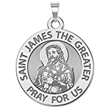 PicturesOnGold.com Saint James the Greater (portrait) Religious Medal - 3/4 Inch Size of a Nickel - Sterling Silver