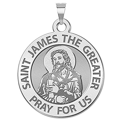 PicturesOnGold.com Saint James the Greater (portrait) Religious Medal - 3/4 Inch Size of a Nickel - Sterling ()