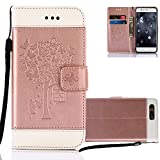 Huawei P10 Lite Wallet Case, Aeeque Premium PU Leather Bookstyle Flip Stand Magnetic Closure with Card Slots Holster Cover and Butterflies Tree Pattern for Huawei P10 Lite 5.2 inch - Rose Gold and Whit