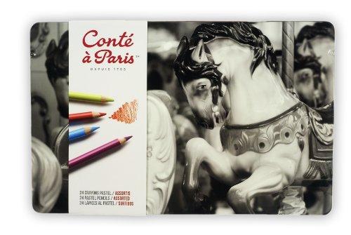 24 Pastel Pencils - Conté à Paris Pastel Pencils with 24 Assorted Colors