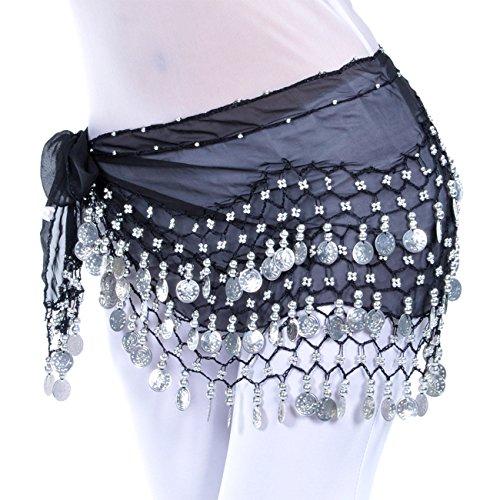 Dance Fairy Belly Dance Scarf Hip Skirt Wrap Belt Waist Chain 128 Silver (Belly Dance Dancer Dancing)