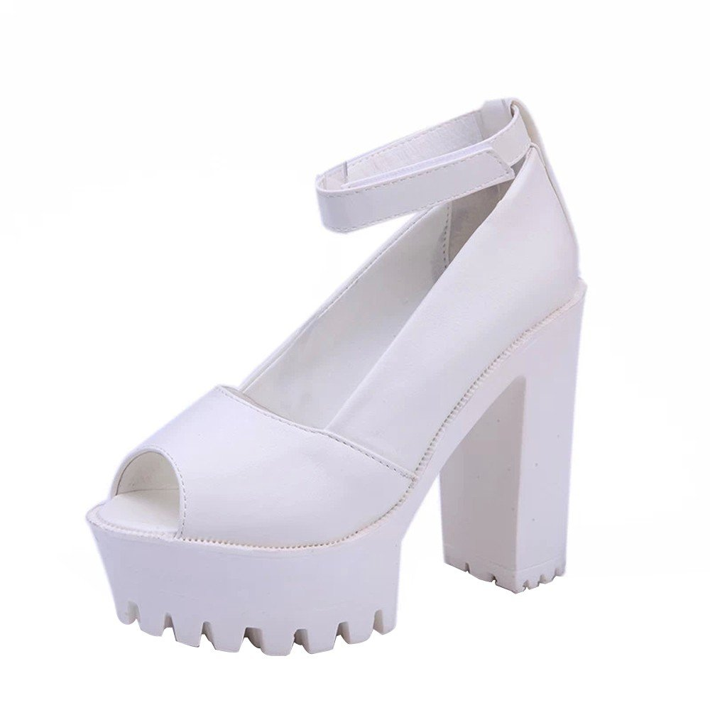 Shoes For Womens -Clearance Sale ,Farjing Fashion Women Peep Toe Platforms High Heels Sandals Buckle Slope Leisure Shoes(US:5,White)