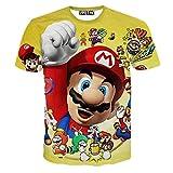 Fashion-Plus Men's 3D Print Funny Mario Casual T-Shirt XXL