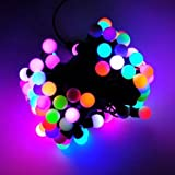 JnDee 5M 16feet 50 LED Colour Changing Fading Twinkling LED Mains Powered Christmas Fairy Lights with Berry Covers for Christmas Tree Wedding Parties Decoration Each LED slowly fades between colours: Red, Yellow, Orange, Blue, Turquoise, Pink, Gree