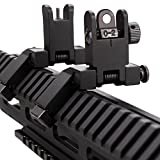 Tactial AR15 Front and Real 45 Degree Offset Sights Set, Offset 45 Degree Flip Up Rapid Transition BUIS Backup Iron Sights for AR 15 Picatinny Rail Mounted - Black