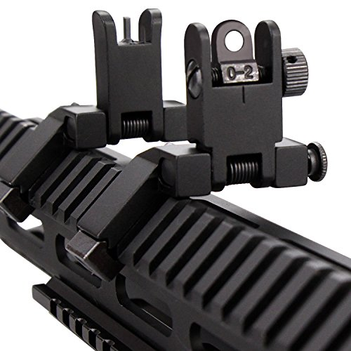 KINBON Tactial AR15 Front and Real 45 Degree Offset Sights Set, Offset 45 Degree Flip Up Rapid Transition BUIS Backup Iron Sights for AR 15 Picatinny Rail Mounted - Black - Quick Adjust Weight System