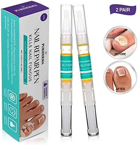 Puriderma Anti-Fungal Nail Repair Pen 2 Pcs- Fast & Effective, Anti Fungal Nail Solution, Toenails & Fingernails Solution,Removes Yellow from Infected Finger & Toe Nails