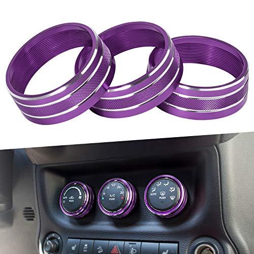 E-cowlboy Interior Audio Air Conditioning Button Cover Decoration Twist Switch Ring Trim for Jeep Wrangler JK JKU Compass Patriot 2011-2016 3PC/SET (Purple)