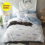 ORoa Cotton Cartoon Puppy Dog Print Boys Girls Twin Bedding Sets for Kids Children Cotton 100 Percent Twin Duvet Cover Set White Blue, Cute Soft Reversible Hypoallergenic Lightweight, Twin