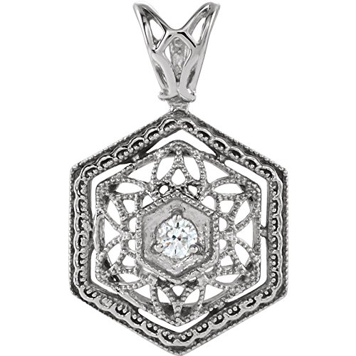 14K White Gold 1.9mm Round Filigree Pendant Mounting