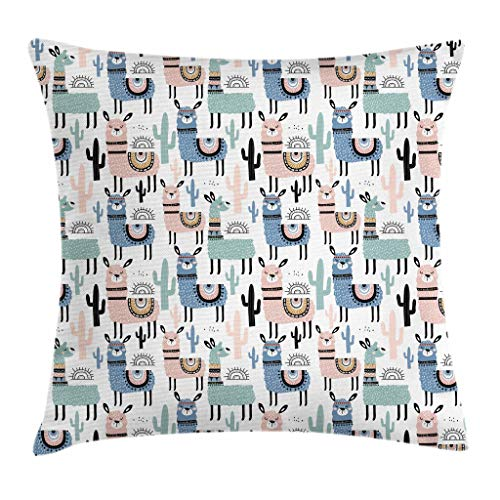 Price comparison product image Ambesonne Llama Throw Pillow Cushion Cover, Children Cartoon Style Hand Drawn South American Animals Alpacas and Llamas Design, Decorative Square Accent Pillow Case, 20 X 20 Inches, Multicolor