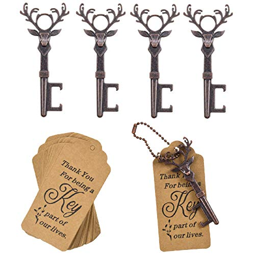 DerBlue 40 PCS Key Bottle Openers,Vintage Skeleton Key Bottle Opener, Wedding Favors Key Bottle Opener Rustic Decoration with Escort Tag Card (Copper-Deer-2)