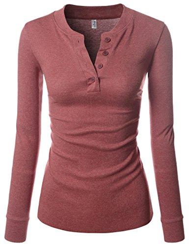 NEARKIN (NKNKWBT68) Beloved Womens Slim Cut Raw Edge Long Sleeve Henley Tshirts WINE US S(Tag size (Long Sleeve Henley Tee)