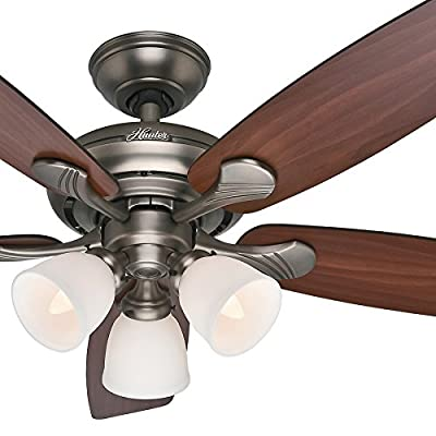 "Hunter Fan 52"" Transitional Ceiling Fan in Antique Pewter with a Three-Light Fixture, 5 Blade (Certified Refurbished)"