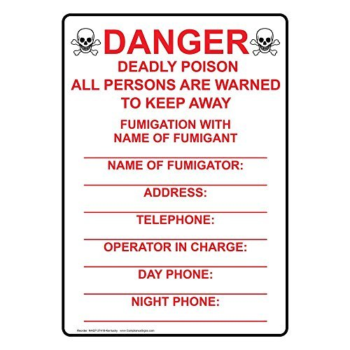 Vertical Kentucky Danger Sign with English Text and Symbol Safety