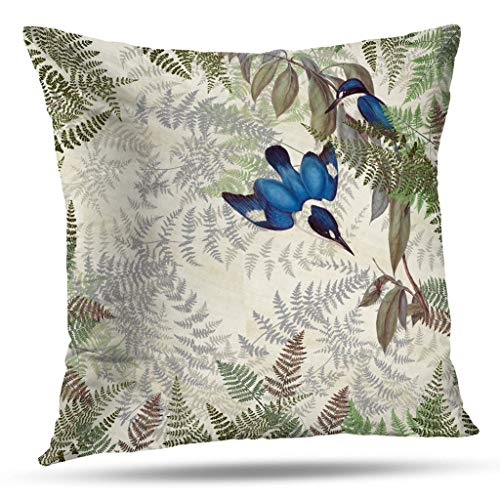 Pakaku Throw Pillows Covers for Couch/Bed 20 x 20 inch, Kingfisher Birds Ferns Wildlife Home Sofa Cushion Cover Pillowcase Summer Gift Decorative Hidden Zipper Soft Touch ()