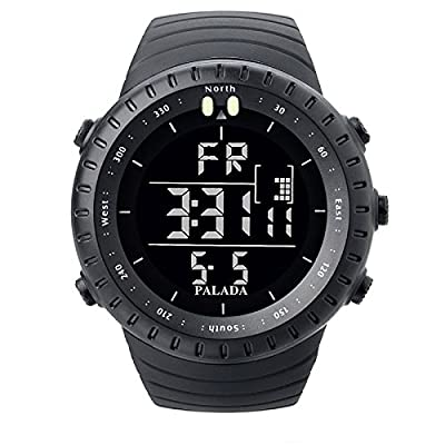PALADA Men's Sports Digital Wrist Watches Electronic Quartz Movement Water Resistant Military Business Casual with LED Backlight - Black