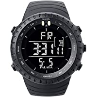 Men's Sports Digital Wrist Watches Electronic Quartz Movement Water Resistant Military Business Casual with LED Backlight - Black