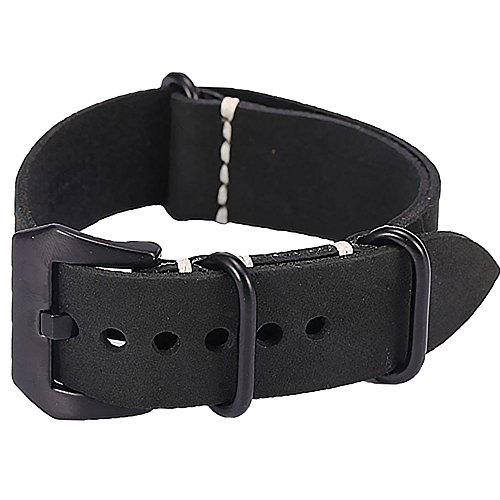 Carty 22mm Black Vintage Handmade Crazy Horse Leather Strap Zulu NATO Replacement Watch Band Black Buckle