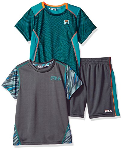 Fila Little Boys' 3 Piece Athletic Set, Teal/Fiery Coral, ()