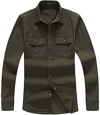 QZUnique Men's Loose Long Sleeve Button-Down Plaid Cotton