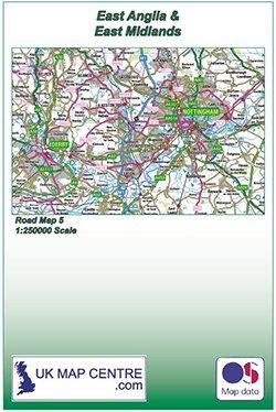 Standard Matte Paper Folded Road Map 5 East Midlands /& East Anglia Colour