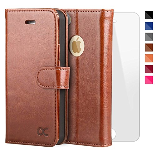 OCASE iPhone 5 Case iphone 5S Case [Free Screen Protector Included] Leather Wallet Flip Case for iPhone 5 / 5S / SE Devices - Brown