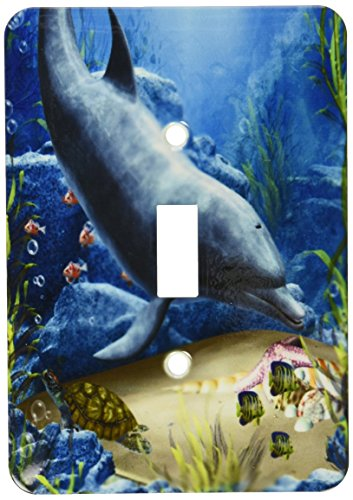 3dRose lsp_172930_1 a Dolphin Swims in The Ocean with Turtle Fishes and More Light Switch - Dolphin Outlet