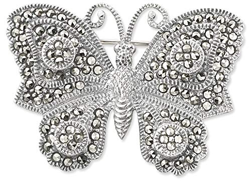 Potional 925 Sterling Silver and Switzerland Marcasite Butterfly Brooch Pin