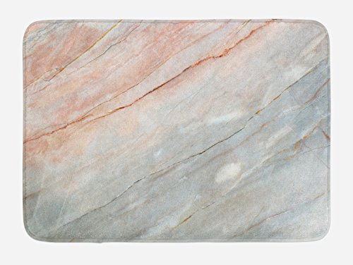 Ambesonne Marble Bath Mat, Onyx Stone Textured Natural Featured Authentic Scratches Artful Illustration, Plush Bathroom Decor Mat with Non Slip Backing, 29.5 W X 17.5 L Inches, Peach Pale Grey