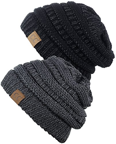 C.C Trendy Warm Chunky Soft Stretch Cable Knit Beanie Skully, 2 Pack Black Metallic/Dark Melange Gray Metallic 2 Pack Knitted Hat
