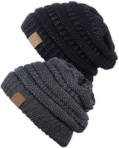 C.C Trendy Warm Chunky Soft Stretch Cable Knit Beanie Skully, 2 Pack Black Metallic/Dark Melange Gray Metallic -