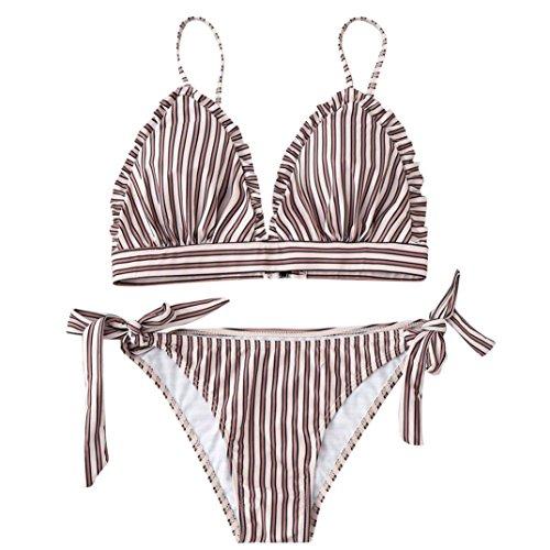 String gorge Bikini Échancré Angelof up Bande Pieces De Push Femme Maillot Brown Soutien 2 Fille Ado Stripe Rembourré Rayures Bain UgxzUq