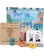 Smooth Wooden Preschool Learning Toys, Early Educational Alphabet Toy, Comes with a Storage Box, for Kids over 3 Years Old Color Recognition(Early education card (carton pack))
