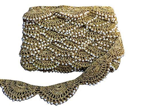 9 Yard Dupatta Golden Motif Work Stone Work Lace,Glass Beads,Stone Work Border,Bollywood Sari,Wedding Saree Border Embroidered Ribbons Indian Trim