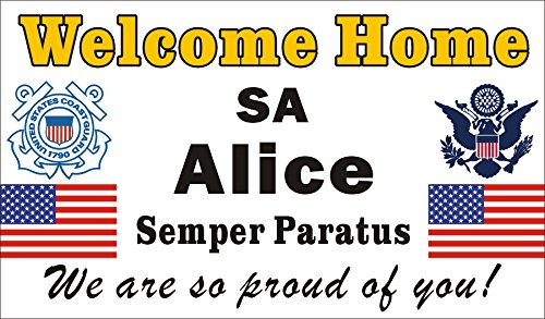 - Alice Graphics 3ftX5ft Custom Personalized Welcome Home USCG (United States Coast Guard) Banner Sign