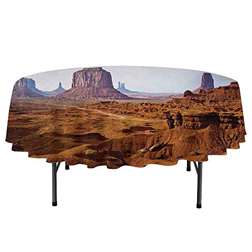 - Curioly Desert Printed Round Tablecloth Monument Valley View from John Fords Point Merritt Butte Sandstone Image Desktop Protection pad D59 Inch Baby Blue Mauve Amber