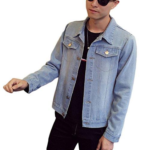 Zarco Chaqueta Jacket larga Jacket de Manga Chaquetas lavado Solapa Hombre Denim Simple Corto xq7R4ww