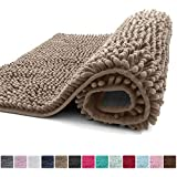 Kangaroo Plush Luxury Chenille Bath Rug, 36x24, Extra Soft and Absorbent Shaggy Bathroom Mat Rugs, Washable, Strong Underside, Plush Carpet Mats for Children's Tub, Shower and Bath Room, Beige