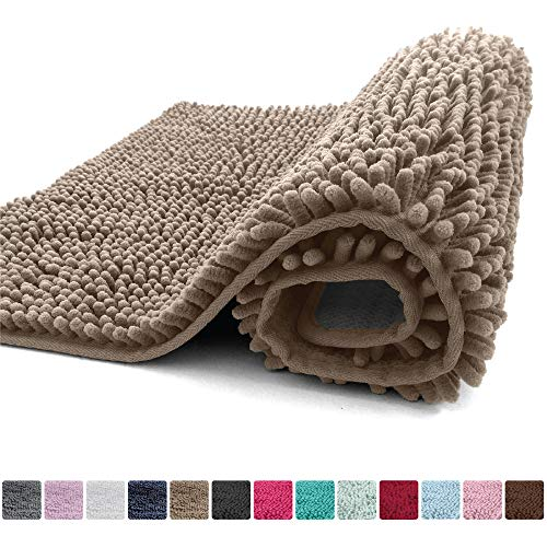 Kangaroo Plush Luxury Chenille Bath Rug, 30x20, Extra Soft and Absorbent Shaggy Bathroom Mat Rugs, Washable, Strong Underside, Plush Carpet Mats for Children's Tub Shower and Bath Room, Beige from Kangaroo