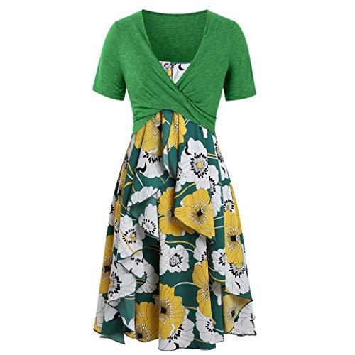 (MURTIAL Women's Short Sleeve Bow Knot Bandage Top Sunflower Print Mini Dress Suits (Green1,XL))