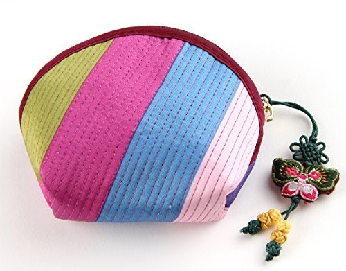 Rainbowstripe Coin Purse Jitney Bag Wallet Made of Korean Traditional Costume Hanbok -