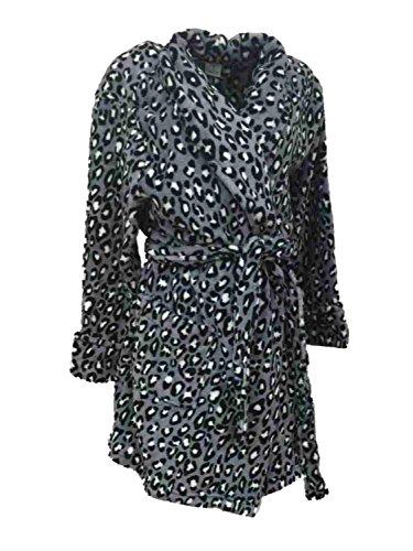 Croft & Barrow Womens Soft Plush Gray & Black Leopard Print Robe Housecoat (Barrow Plush)