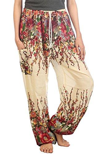 Lofbaz Women's Drawstring Floral 1 Harem Boho Pants Ivory