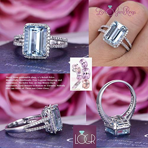 Emerald Cut Aquamarine Ring Diamond Split Shank 14K White Gold 8x11mm